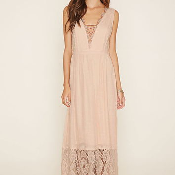 Lace-Paneled Maxi Dress