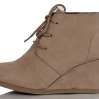 "Light Taupe Faux Suede Almond Toe Lace Up Hidden Wedge 3 1/4"" Ankle Bootie Rex 85"