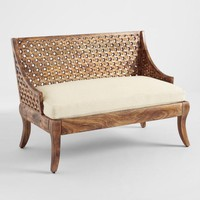 Tribal Carved Wood Love Seat
