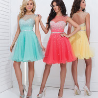 Sheer Short Tony Bowls Prom Dress 11477