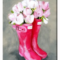 Oliver Gal Tulips Rain Boots Canvas Wall Art | Nordstrom