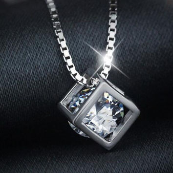 Womens 925 Sterling Silver Crystal Pendant Necklace Girls Superior Quality Christmas Necklace Gift 91