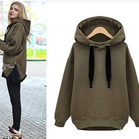 TEMPERAMENT THICK FLEECE HOODED SWEATER (L)