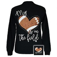 Girlie Girl My Heart is on the Field Football Long Sleeves T-Shirt