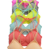 Racerback Strappy Bralette - Pink, Yellow, or Coral