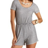 Striped French Terry Romper by Charlotte Russe - Ivory Combo