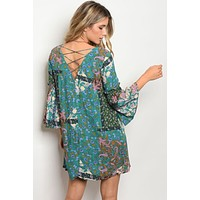 Boho Mix Pattern Dress