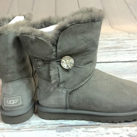 UGG BAILEY BUTTON BLING BOOTS IN GREY