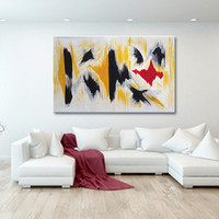 "Original Painting Abstract Art, Hand Painted  39"" Aclylic Abstract Painting On Canvas Art Modern Art Black White Yellow red"