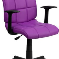 Mid-Back Purple Quilted Vinyl Task Chair with Nylon Arms