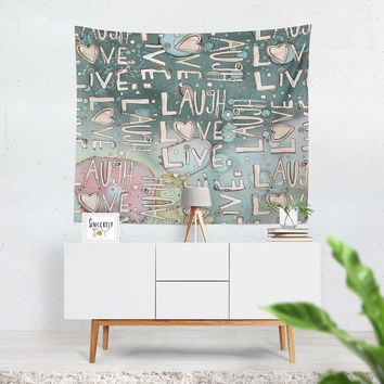 Wall Art Tapestry Blue 'Laugh Love Live'