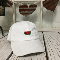 New Watermelon Fruit Hat Embroidery White Baseball Cap Low Profile Curved Bill
