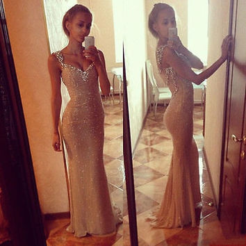 New Women Sexy Long Sequins Dress Evening Prom Formal Prom Gown Dress
