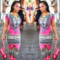 African Dashiki Dresses For Women Two Piece Set