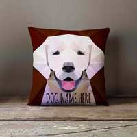 Personalized Geometric Labrador Dog Pillowcase | Decorative Throw Pillow Cover | Cushion Case | Designer Pillow Case | Gift for Pets Lovers