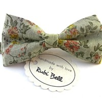 Bow Tie - floral bow tie - wedding bow tie - greenish grey bow tie with pink and green flower pattern - grooms bow tie