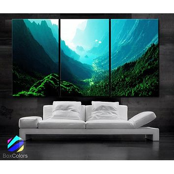 """LARGE 30""""x 60"""" 3 Panels Art Canvas Print Beautiful Nature mountain sunset canyon mountain river trees Wall Home (Included framed 1.5"""" depth)"""