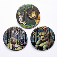 """Where the wild things are 3x1.5"""" pinback button badge set from Stickerama"""
