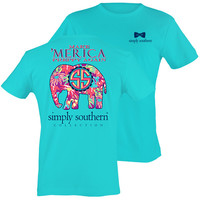 Simply Southern Make Merica Preppy Again Elephant Floral Bright T-Shirt