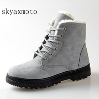 Skyaxmoto Fashion warm snow boots 2017 heels winter boots new arrival men ankle boots men shoes