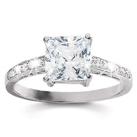 SusanB.Designs Sterling Silver Cubic Zirconia Princess Cut Solitaire Ring