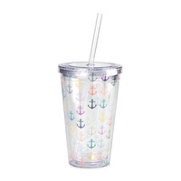 Pastel Anchor Print Tumbler with Straw