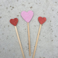 Valentines Day Cake Topper - Glitter Hearts READY TO SHIP