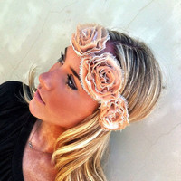 Ring of Roses Wedding Headbands Rose Bridesmaid Head bands Statement  Flower Headpiece- statement fascinator bridesmaid hair accessory