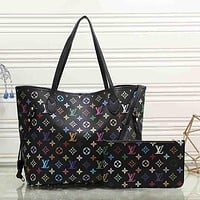 Louis Vuitton Women Fashion Leather Satchel Bag Shoulder Bag Handbag Crossbody Set Two Piece