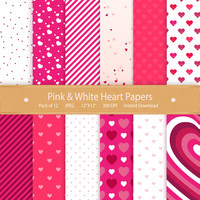 Digital Paper: Pink & White Hearts Valentines Day Instant Download Commercial Use Printable Digital graphics Images Backgrounds Scrapbooking