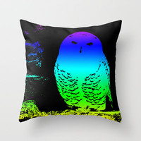 Colourful Hedwig Snowy Owl - Harry Potter Throw Pillow by Karl Wilson Photography