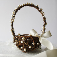 Flower girl basket Rustic wedding basket Rustic wedding decor Flower basket twig basket  Woodland wedding HERMIA