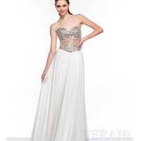 Terani 151P0036 Ivory & Nude Crystal Embellished Strapless Gown Prom 2015