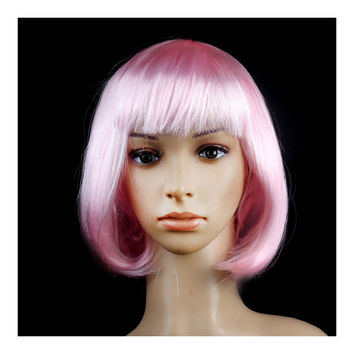 Women's Sexy Short Bob Cut Fancy Dress Wigs Play Costume Ladies Full Wig Party  Light pink