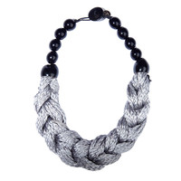 Braid necklace with gray twisted rope design