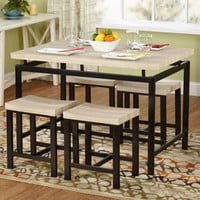 Sturdy 5-Piece Dining Set Natural Table Top Home Furniture Natural/Black Finish