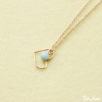 Heart Link Pendant with small Pearl Bead, Gold Plated, Necklace