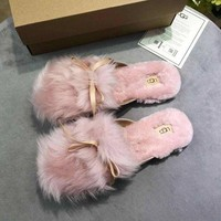DCCK New UGG Pink fashion casual plush flat slippers