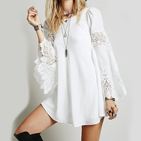 2015 Summer Brand Women White Loose Long Sleeve Lace Crochet Dresses Hollow Out Mini Dress Fashion Sexy Short Dress