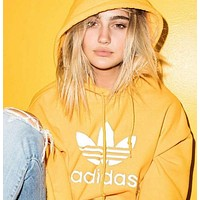 "Inseva ""Adidas"" Women Fashion Hooded Top Pullover Sweater Sweatshirt Hoodie Yellow"