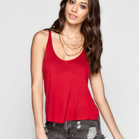 Full Tilt Essential Womens Muscle Tank Red  In Sizes