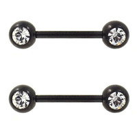 Pair of 2 Black Titanium Plated Steel Double Clear CZ Nipple Piercing Barbells - 14G 9/16""