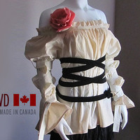Blouse. Steampunk. Plus Size Peasant Blouse. Renaissance Shirt. Peasant. Pirate. Vampire. Gothic Lolita Clothes. Made in Your Size.