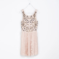 LACE DRESS WITH FLARED SKIRT - Dresses - TRF | ZARA Israel