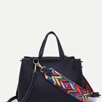 Raw Edge PU Bag With Wide Strap