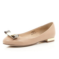 River Island Womens Pink bow front round toe ballet flats