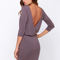 LULUS Exclusive All or Nothing Dusty Purple Backless Dress