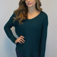 Oversized Teal Knit Sweater