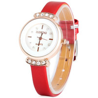 Red Quartz Rhinestone Watch