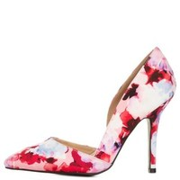 Qupid Pointed Toe Floral D'Orsay Pumps